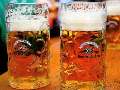 Wycieczka na piwo do Bawarii. Dwa kufle jasnego piwa obok siebie