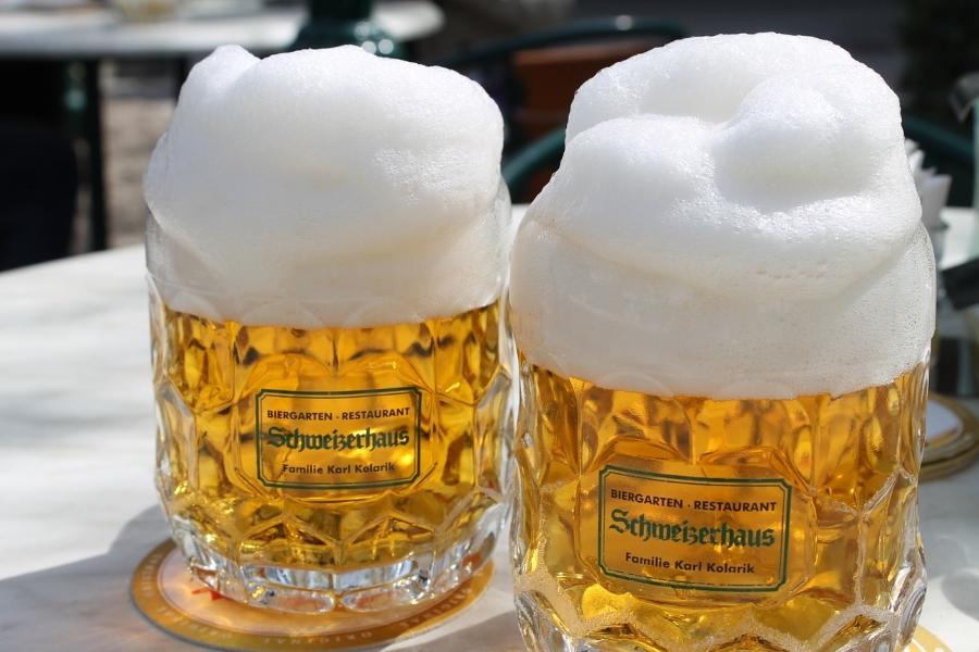 Wycieczki piwne. Dwa kufle jasnego piwa.
