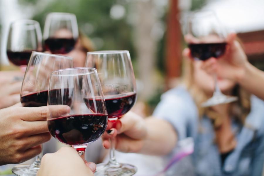 Wycieczki winiarskie. Toast czerwonym winem