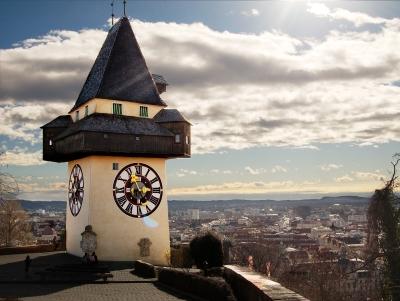 Wycieczka do Styrii. Widok na Wieżę Zegarową w Grazu