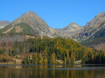 Słowacja - wycieczka dwudniowa.. Widok na jezioro w Szczyrbskim Plesie z Tatrami w tle.